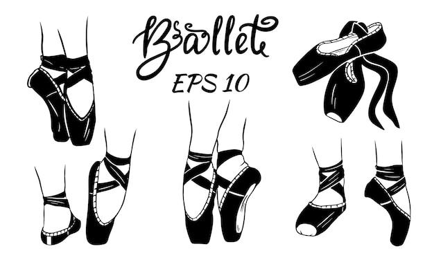 Un set di scarpette da ballo. gambe delle donne in scarpe da ballo. scarpette da ballo, scarpe da punta. Vettore Premium