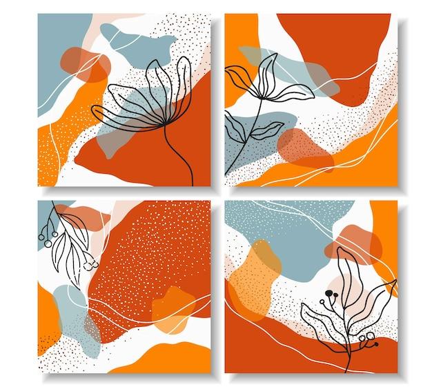 Set di bellissimo disegno floreale per post di instagram Vettore Premium