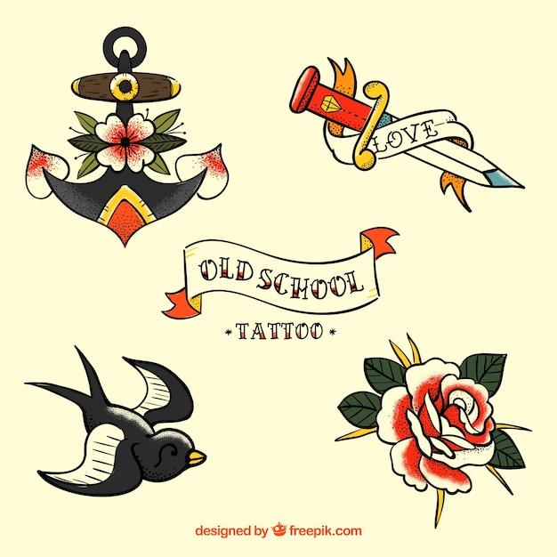 Set di belle tatuaggi retrò disegnati a mano Vettore Premium