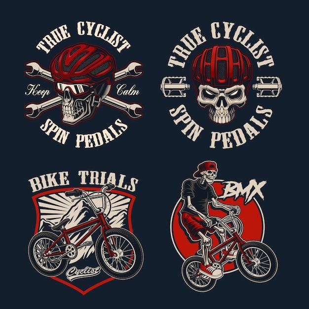 Set di biciclette a tema per abbigliamento Vettore Premium