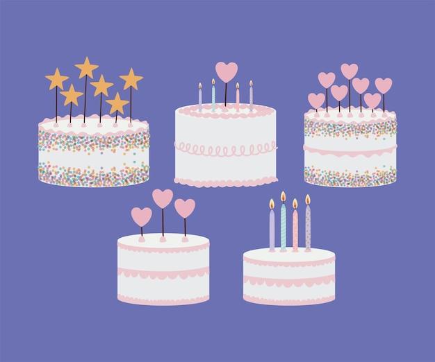 Set di torte di compleanno su viola Vettore Premium