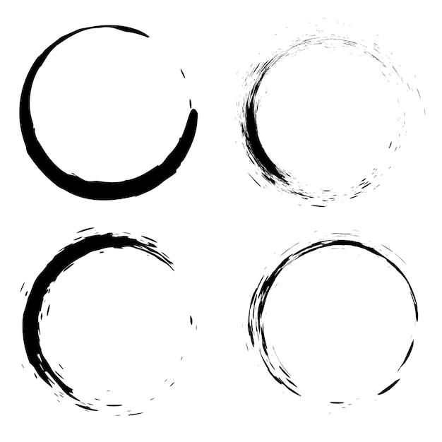 Set di pennellate nere sotto forma di un cerchio. elemento per poster, carta, segno, banner. Vettore Premium