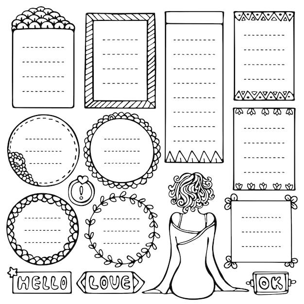 Set di cornici nere di doodle per bullet journal, taccuino, diario, pianificatore isolato su priorità bassa bianca Vettore Premium