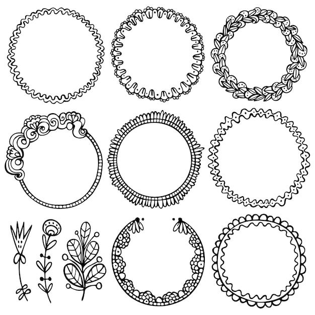 Set di cornici nere di doodle, vignette per bullet journal, taccuino, diario e pianificatore Vettore Premium