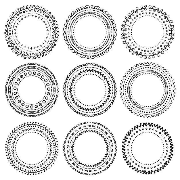 Set di vignette doodle nero per bullet journal, taccuino, diario e pianificatore Vettore Premium