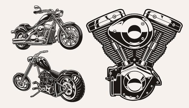Serie di illustrazioni in bianco e nero per il tema motociclistico Vettore Premium