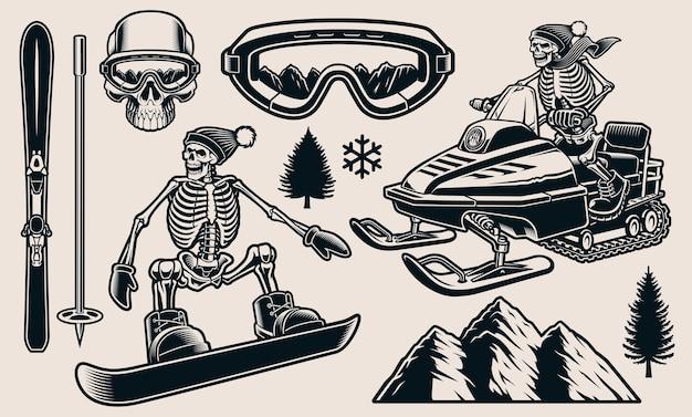 Serie di illustrazioni in bianco e nero per il tema degli sport invernali Vettore Premium