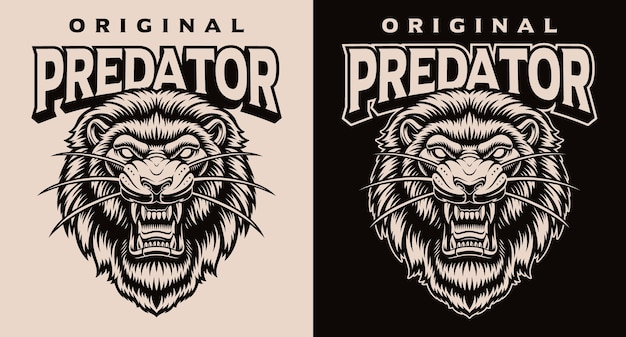Set di loghi testa di leone bianco e nero Vettore Premium