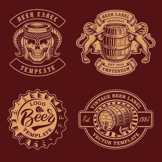 Set di distintivi di birra vintage in bianco e nero Vettore Premium