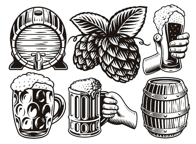 Set di illustrazioni di birra vintage in bianco e nero in stile incisione Vettore Premium