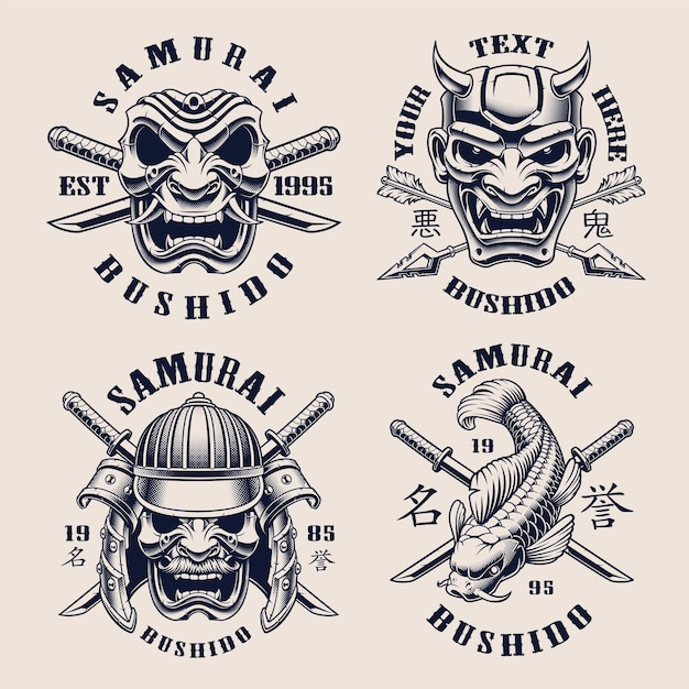 Set di emblemi vintage in bianco e nero per tema samurai Vettore Premium