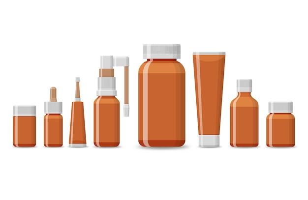 Set di pacchetto vuoto per prodotti medici isolati su uno sfondo bianco. blister di pillole realistiche con compresse e capsule. tubi di plastica per farmaci da farmacia Vettore Premium