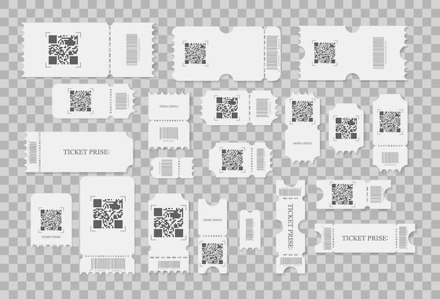 Set di biglietti vuoti, coupon e buoni con bordi arricciati. i biglietti per i concerti del festival, la disposizione delle carte coupon in carta bianca e il cinema accettano un foglio. Vettore Premium