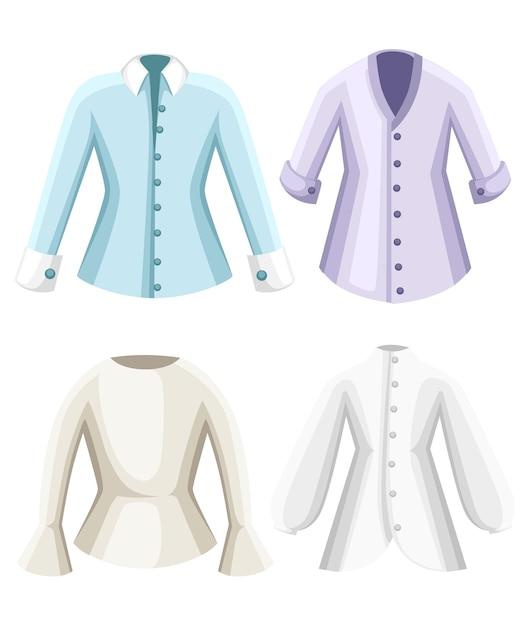 Set di camicette. vestiti per signora. camicette a maniche lunghe formali femminili. . illustrazione su sfondo bianco. pagina del sito web e app per dispositivi mobili. Vettore Premium