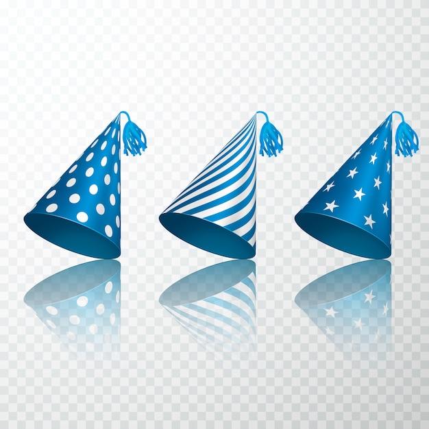 Set di cappello blu compleanno Vettore Premium