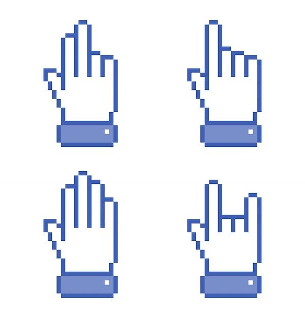 Insieme delle icone blu della mano del pixel. illustrazione. Vettore Premium
