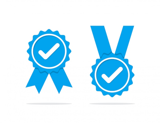 Set di icone di verifica del profilo blu. badge di garanzia, approvazione, accettazione e qualità Vettore Premium