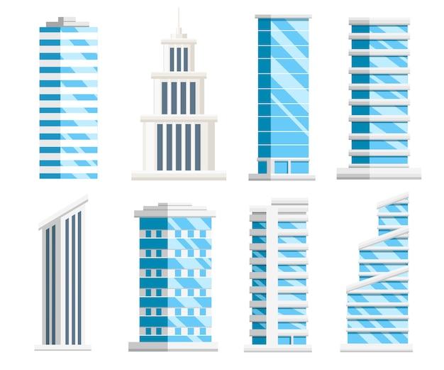 Set di grattacieli blu. collezione di edifici aziendali. elementi della città. illustrazione su sfondo bianco Vettore Premium