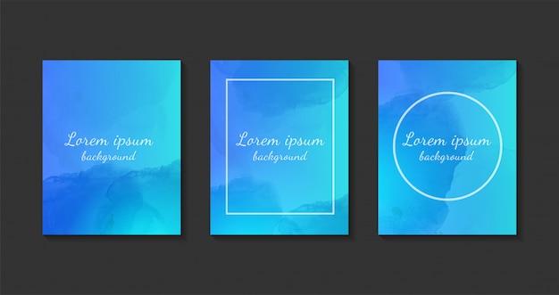 Set di modelli di sfondo blu dell'acquerello. Vettore Premium