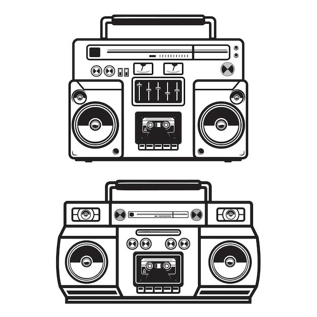 Serie di illustrazioni boombox su sfondo bianco. . Vettore Premium
