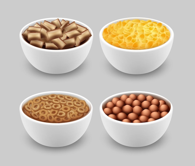 Set di ciotole con pastiglie di mais anelli palline e cornflakes isolati su sfondo grigio Vettore Premium
