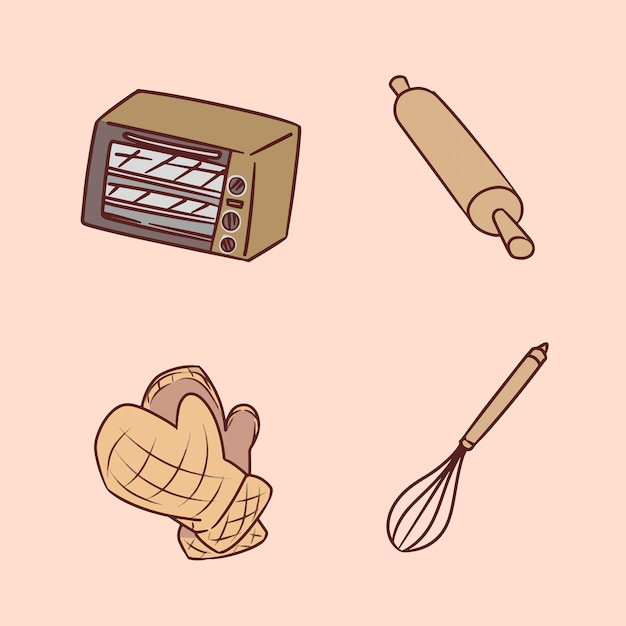 Set di macchina per il pane disegno a mano illustrazione Vettore Premium