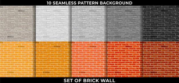 Insieme del fondo senza cuciture del modello del muro di mattoni. design Vettore Premium