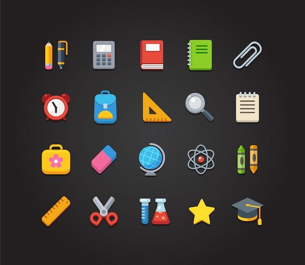 Set di icone colorate di scuola e istruzione: icone di cancelleria, apprendimento e scienza e vari rifornimenti di scuola. Vettore Premium
