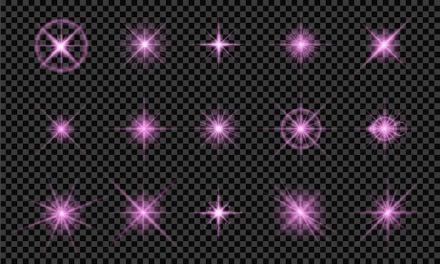 Set di stelle luminose bagliori di colore viola chiaro isolato su sfondo trasparente Vettore Premium