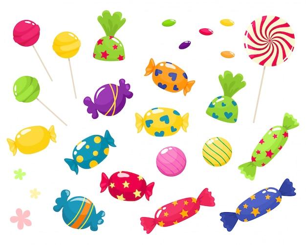 Set di dolci luminosi. isola in stile cartone animato su uno sfondo bianco. Vettore Premium