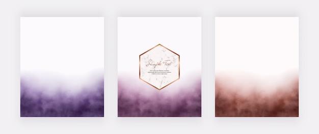 Set di carta acquerello tratto di pennello con cornice geometrica in marmo. Vettore Premium