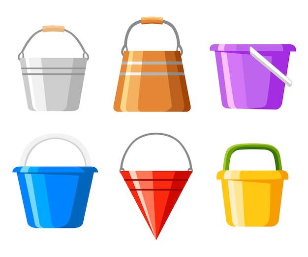 Set di secchi. una varietà di secchio. contenitori colorati per acqua o sabbia. . illustrazione su sfondo bianco. pagina del sito web e app per dispositivi mobili. Vettore Premium
