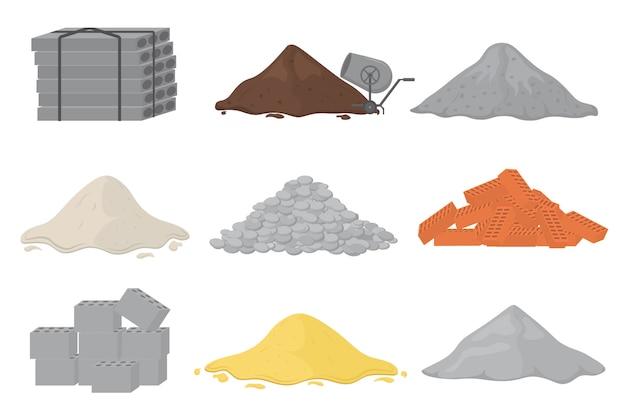 Set di materiale da costruzione (sabbia, pietre, cemento, pietrisco, mattoni, gesso). mucchi di materiale da costruzione. s può essere utilizzato per cantieri, lavori, industria. . Vettore Premium