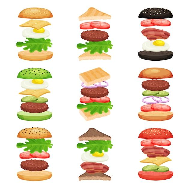 Set di hamburger e panini con ingredienti volanti. gustosi fast food. merenda deliziosa. design piatto per app mobile o menu bar Vettore Premium