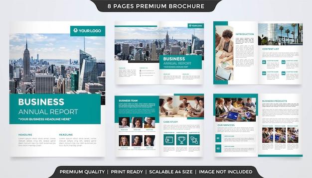 Set di modello di relazione annuale aziendale Vettore Premium