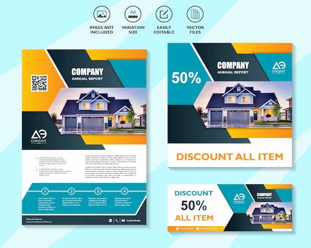 Set di modelli di progettazione aziendale per il networking di soluzioni mobili di marketing digitale Vettore Premium