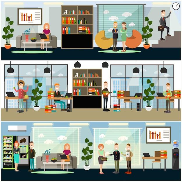 Set di poster di affari, banner in stile piano Vettore Premium