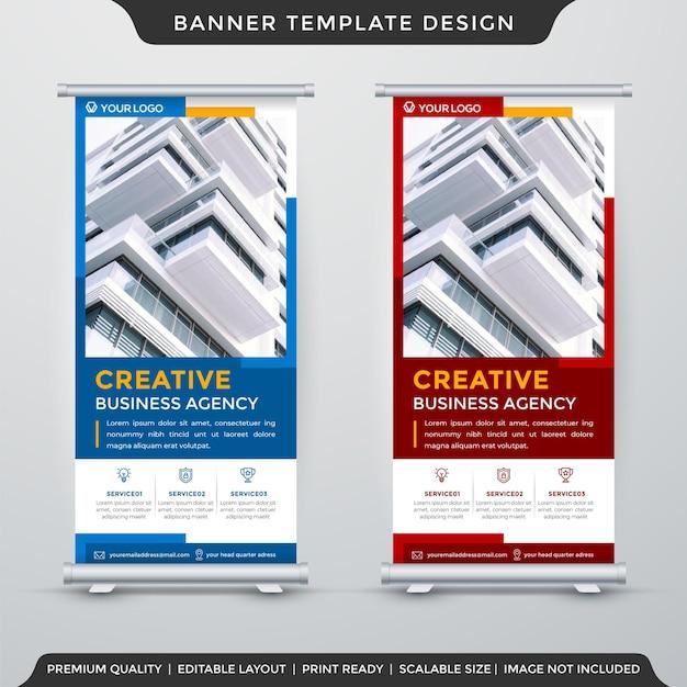Set di modello di banner stand aziendale con stile astratto Vettore Premium