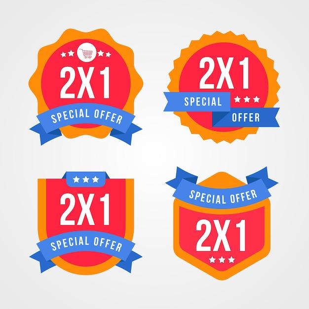 Set di acquistare due al prezzo di una etichetta Vettore Premium