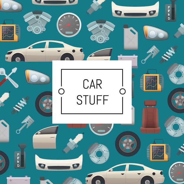 Set di sfondo di parti di automobili Vettore Premium