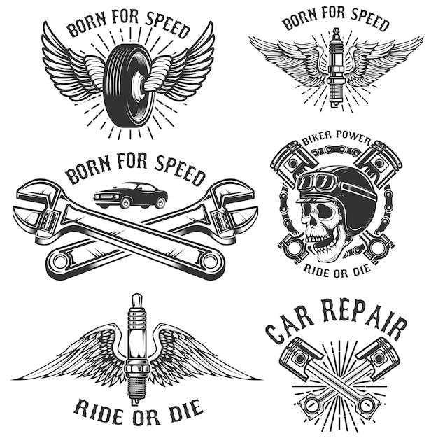 Set di riparazione auto e emblemi da corsa. candela con ali, teschio racer, pistoni e ruota. elementi per logo, etichetta, badge. illustrazione Vettore Premium