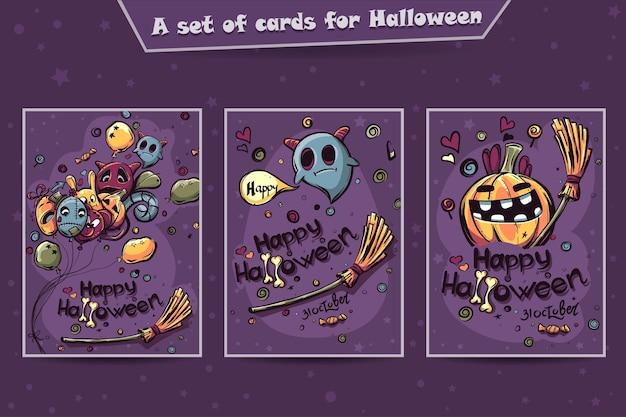 Set di carte halloween doodles Vettore Premium