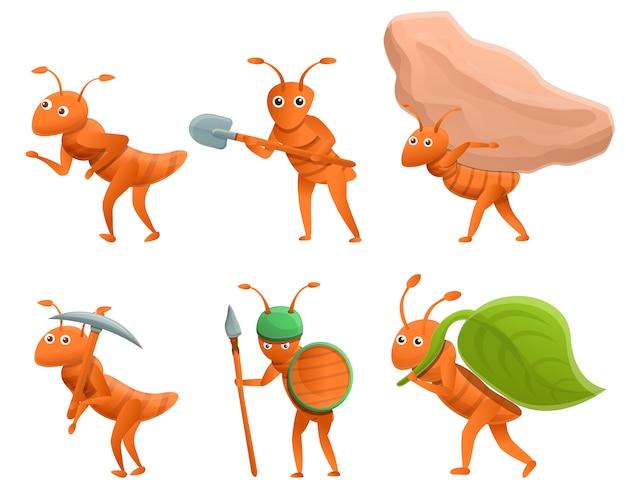 Insieme delle formiche del fumetto isolate su bianco Vettore Premium