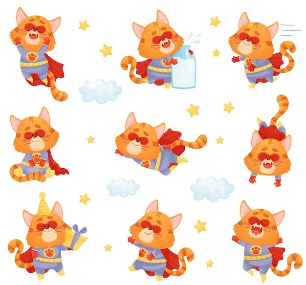 Set di supereroe gatto dei cartoni animati in diverse pose e situazioni Vettore Premium