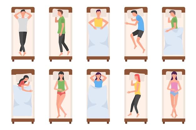 Set di personaggio dei cartoni animati che giace in diverse pose durante il sonno notturno. Vettore Premium