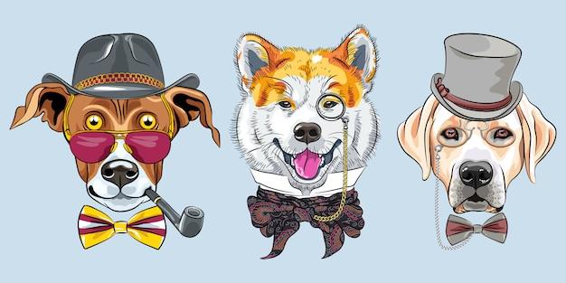 Set di cani hipster dei cartoni animati Vettore Premium