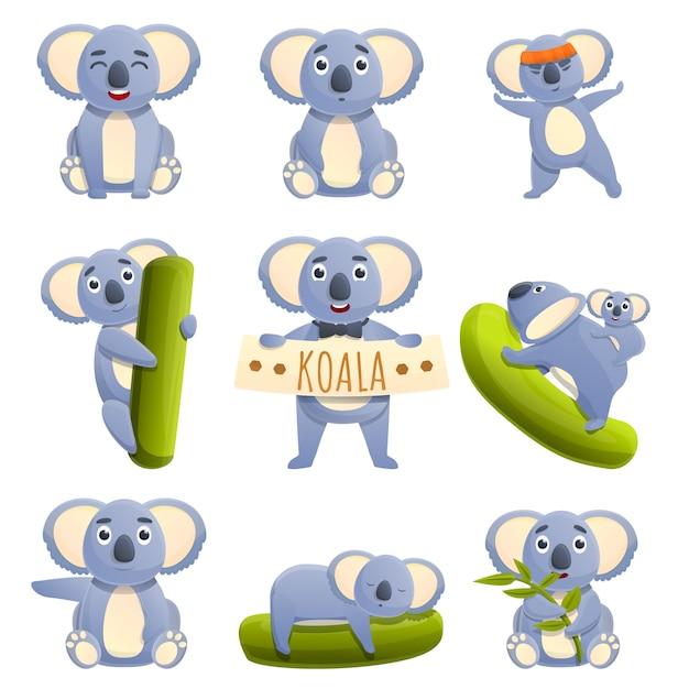 Set di koala del fumetto con emozioni diverse Vettore Premium