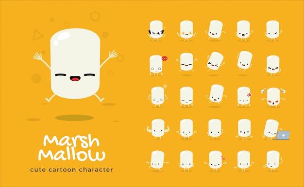 Serie di cartoni animati di marshmallow. illustrazione. Vettore Premium