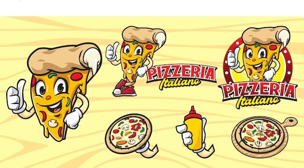 Set di logo pizza mascotte dei cartoni animati Vettore Premium