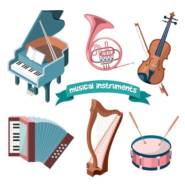 Set di strumenti musicali dei cartoni animati - pianoforte a coda, corno francese, violino, fisarmonica, arpa e tamburo. Vettore Premium